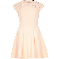 Light pink lace top skater dress