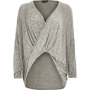 Grey drape front top