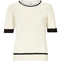 Cream lightweight textured t-shirt