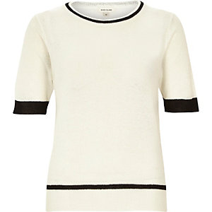 Cream lightweight textured t-shirt