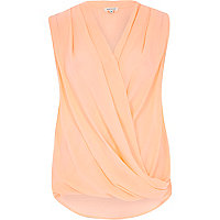Pink loose pleat wrap front blouse