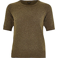 Khaki green lightweight textured t-shirt