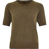 Khaki green lightweight textured t-shirt