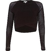 Brown bodycon mesh wrap front top