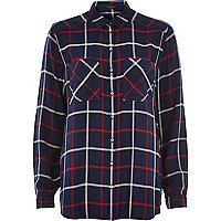 Navy blue check long sleeve shirt