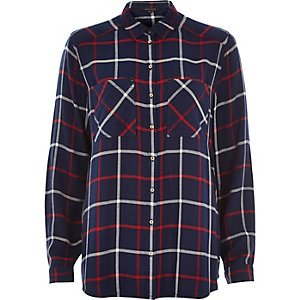 Navy blue check long sleeve shirt