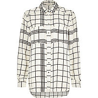 Cream check print shirt