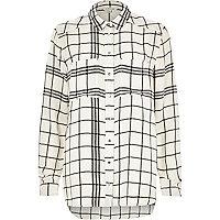 Cream check print shirt