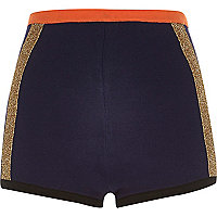 Navy knitted colour block shorts