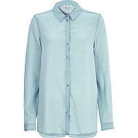 Light wash split back denim shirt
