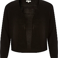 Black woven 3/4 sleeve cropped cardigan