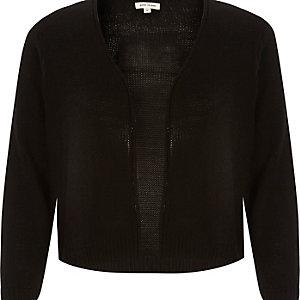 Black 3/4 sleeve cropped cardigan