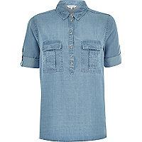 Denim boxy roll sleeve shirt