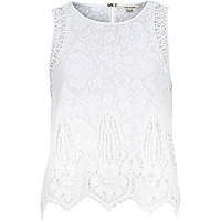 White lace sleeveless tank top
