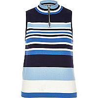 Blue stripe sleeveless zip neck top