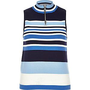 Blue stripe sleeveless zip neck top