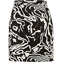 Black swirl print mini skirt