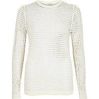 White grid sheer mesh long sleeve top