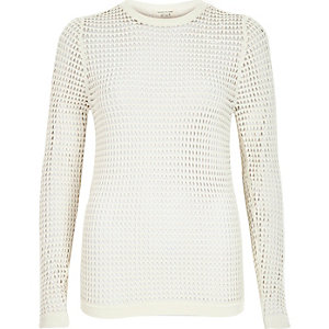 White grid sheer mesh long sleeve top