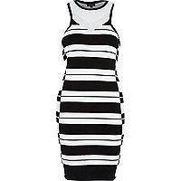 Black stripe racer back bodycon dress
