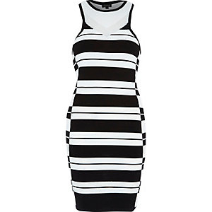Black stripe racer back bodycon dress