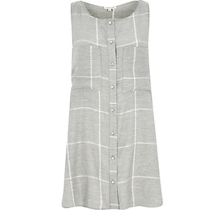 Grey check sleeveless shirt