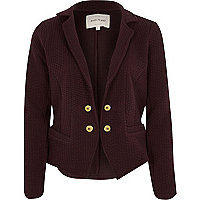 Dark red textured jersey jacket