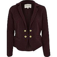 Dark red textured jersey jacket