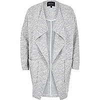 Grey relaxed cotton jersey cocoon jacket