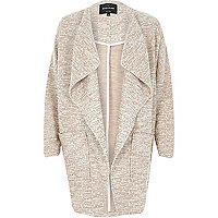 Beige relaxed cotton jersey cocoon jacket