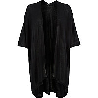 Black lightweight waterfall blanket cardigan