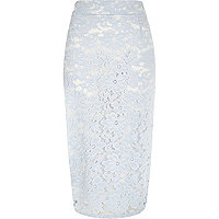 Light blue lace overlay pencil skirt