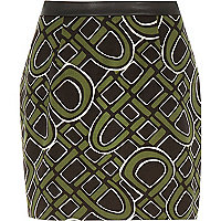 Khaki 60s print mini skirt