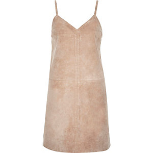 Beige premium suede cami dress