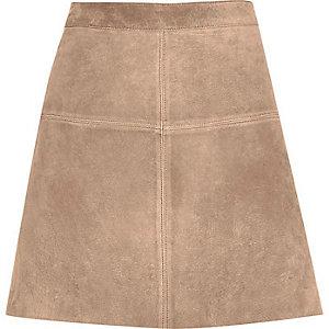 Beige premium suede A-line skirt