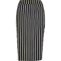 Navy stripe woven pencil skirt