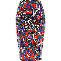Purple paint splash print woven pencil skirt