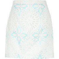 Green printed burnout A-line skirt