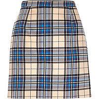 Blue check A-line skirt
