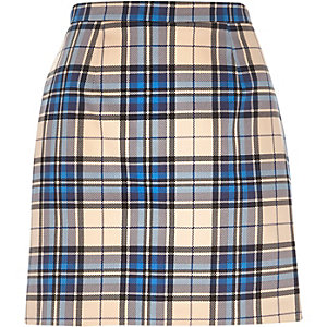 Blue check A-line skirt