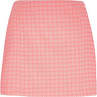 Coral diamond jacquard mini skirt