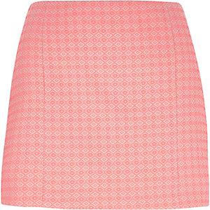 Coral diamond jacquard mini skirt