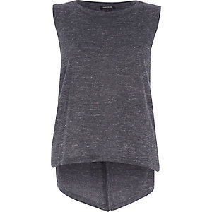 Dark grey metallic split back vest