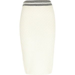 Cream contrast trim pencil skirt