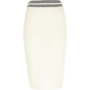 Cream contrast trim pencil skirt
