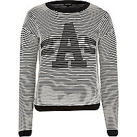 White and black stripe A jumper