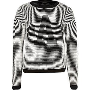 White and black stripe A jumper