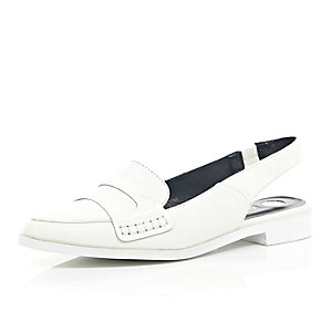 White pointed flat slingback loafers
