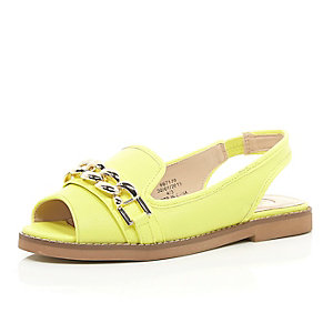 Yellow chain front peep toe sling back flats