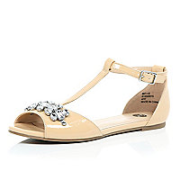 Light pink embellished T-bar shoes
